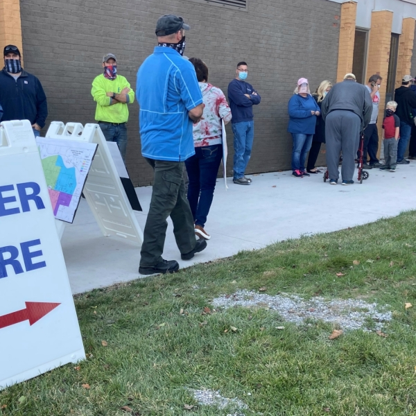 People line up at Life Stream Church in Allendale Township to vote during the Nov. 3, 2020 election.