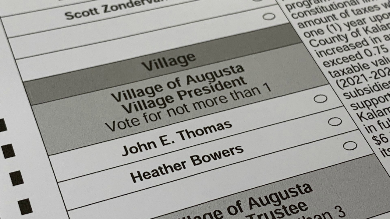 The ballot with John Thomas and Heather Bowers for Augusta village president.