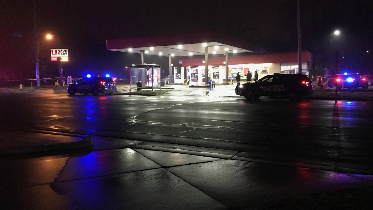 A photo of a deadly shooting on Leonard Street in Grand Rapids on Nov. 26, 2020.