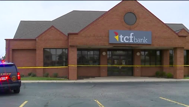 A photo of the scene of a robbery at the TCF Bank in Gaines Township on Nov. 27, 2020.