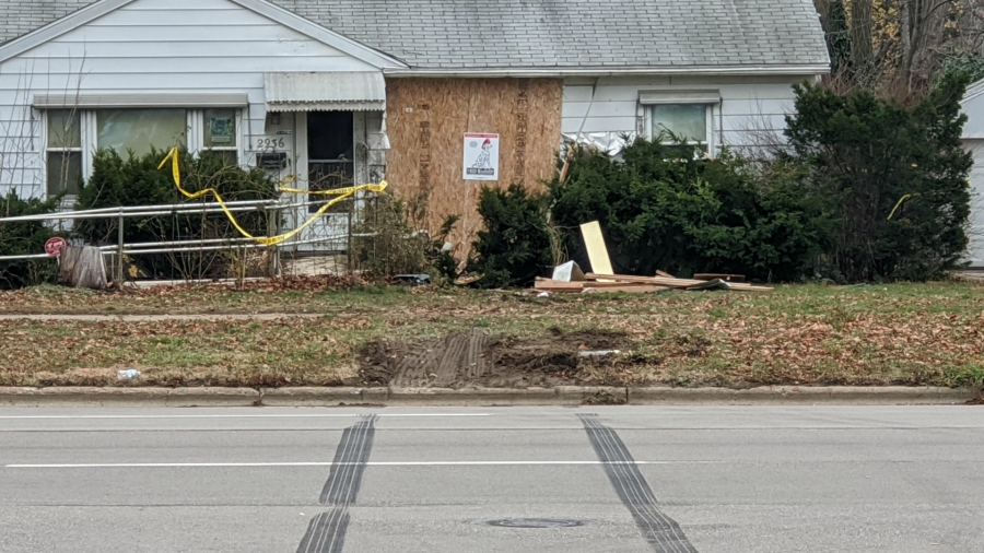 A photo of a Wyoming home after a car crashed into it on Nov. 27, 2020.