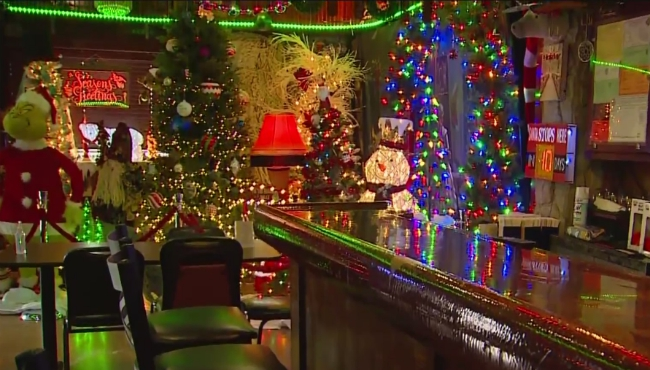 A 2020 file image of the Christmas decorations at Broadway Bar.