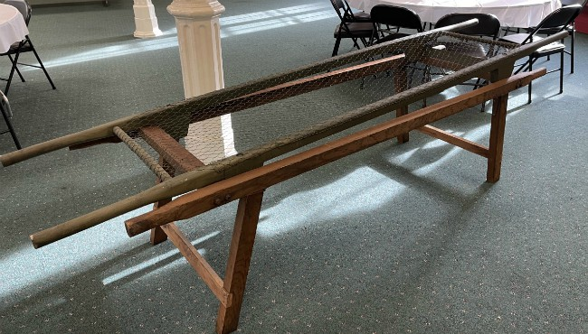 A photo of a cot used during the 1918 pandemic in the First United Methodist Church in Three Rivers. (Dec. 16, 2020)
