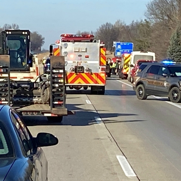 A photo of a crash in Allegan County on northbound US-131, which is south of the Martin exit. (Dec. 10, 2020)