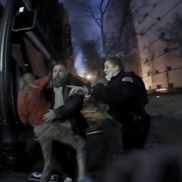 A photo from a Metro Nashville Police Department body camera of Buddy Gainey escaping a bombing on Dec. 25, 2020.