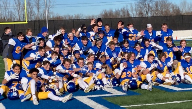 Catholic Central football team after regional win on Jan. 9, 2021.