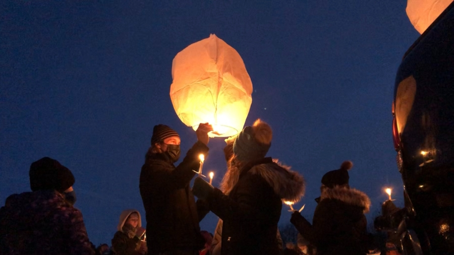Lanterns are released at a vigil forDestini Cunliffe at Townsend Park on Jan. 23, 2021.