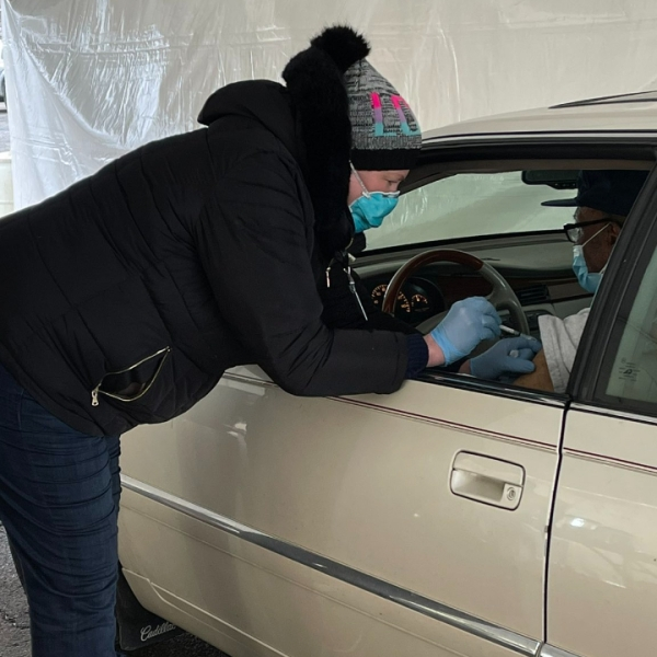 Family Health Center opens a drive-thru COVID-19 vaccination site on Jan. 22, 2021.