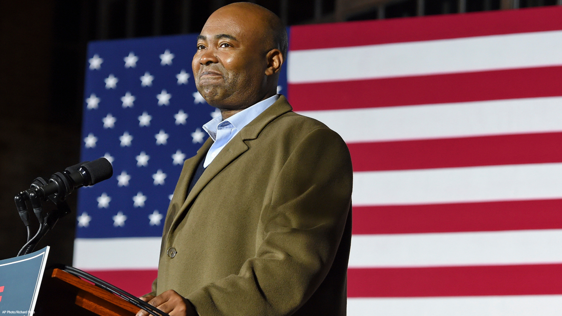 In this Nov. 3, 2020, file photo Democratic Senate candidate Jaime Harrison speaks at a watch party in Columbia, S.C., after losing the Senate race. Harrison, the longtime Democratic Party official, is President-elect Joe Biden's choice to lead the national party, according to multiple party officials. (AP Photo/Richard Shiro)