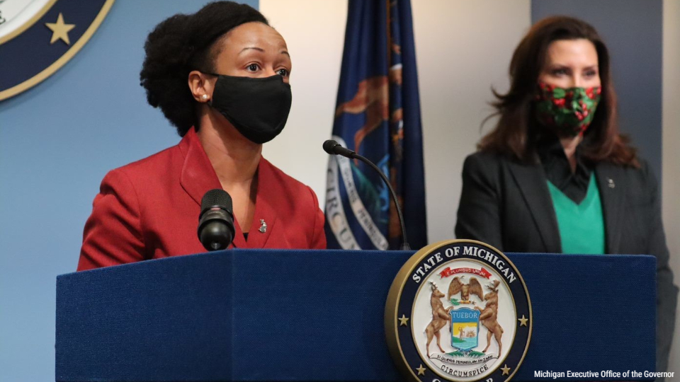 Michigan Chief Medical Executive Doctor Joneigh Khaldun at a coronavirus briefing on Jan. 22, 2021. (Courtesy of the Michigan Executive Office of the Governor)