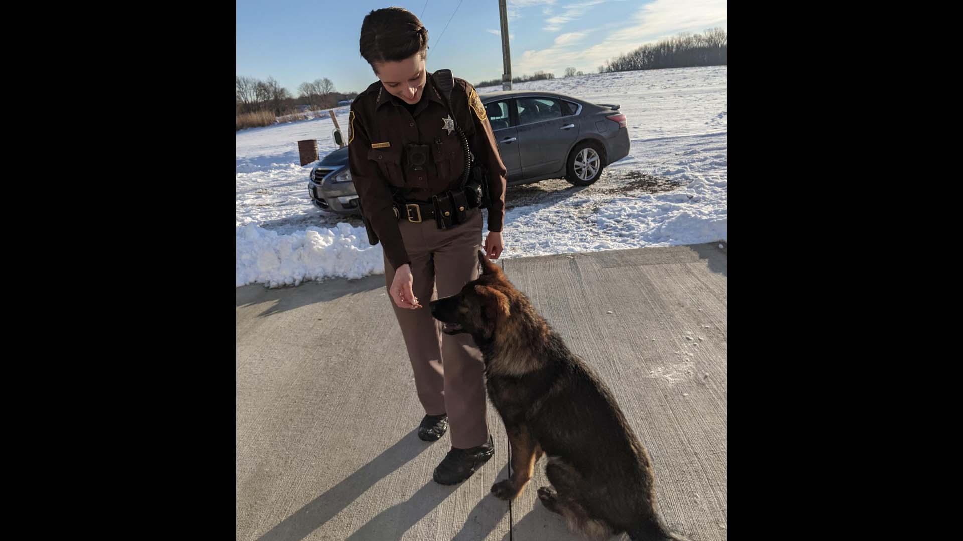 Cass County Sheriff's Deputy Taryn Shields and Leo the dog. (Jan. 21, 2021)