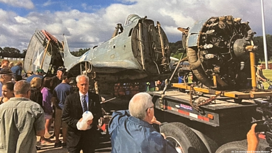 SBD Dauntless Dive Bomber after it was recovered from Lake Michigan. (Courtesy of the Air Zoo)