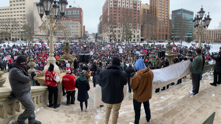 """Hundreds gather in Lansing for the """"Let Them Play"""" rally on Jan. 30, 2021."""