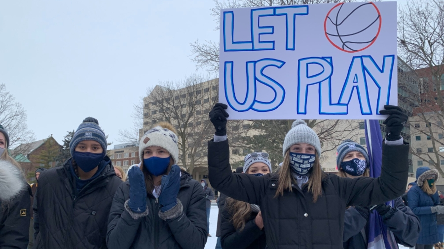 "People gather for the ""Let Them Play"" rallyin Lansingon Jan. 30, 2021."