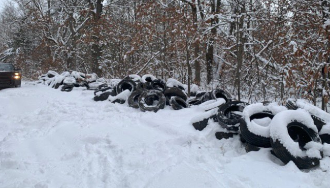 Tires have been found in the Allegan State Gaming Area. (Jan. 26, 2021)