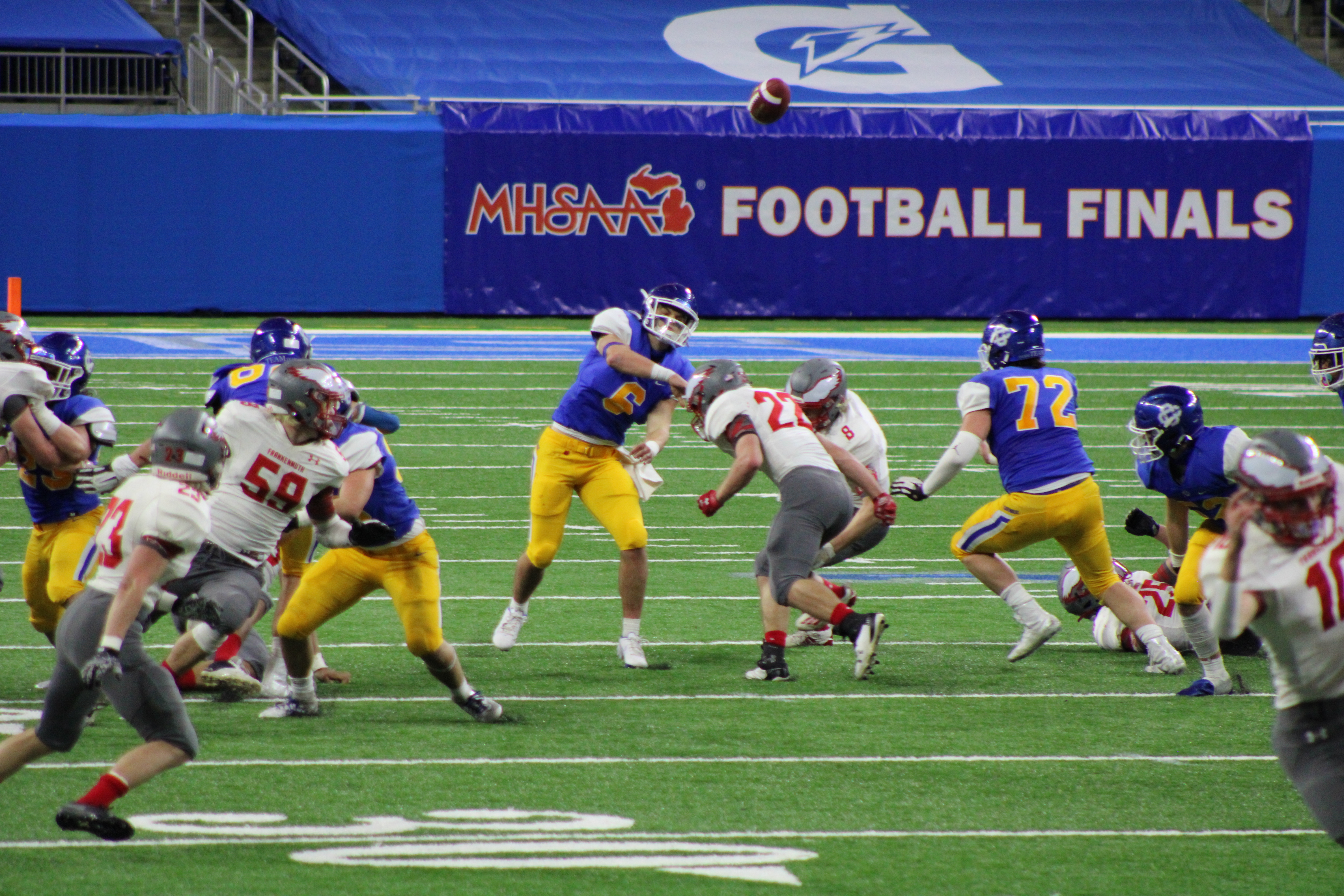 Grand Rapids Catholic Central battlesFrankenmuth for the Division 5 title at Ford Field on Jan. 23, 2021.