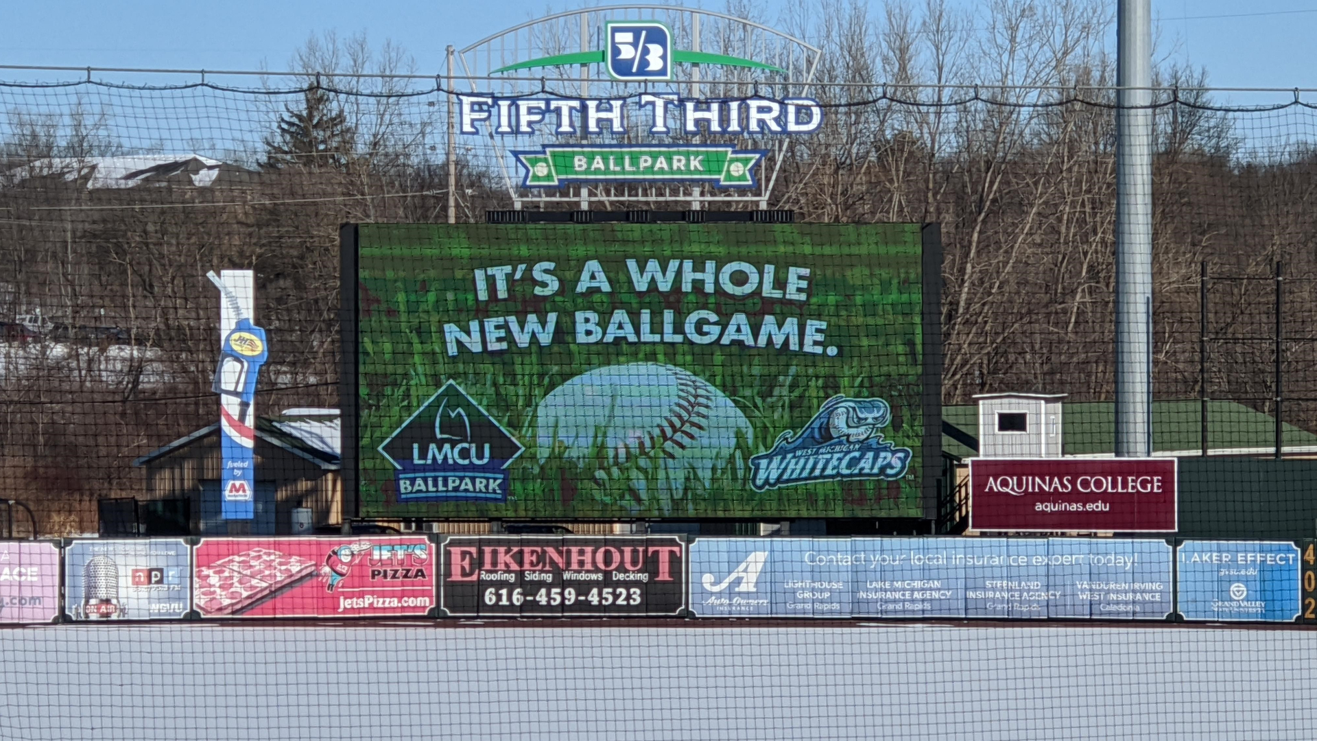 A billboard showing the change of the ballpark's name. (Feb. 2, 2021)