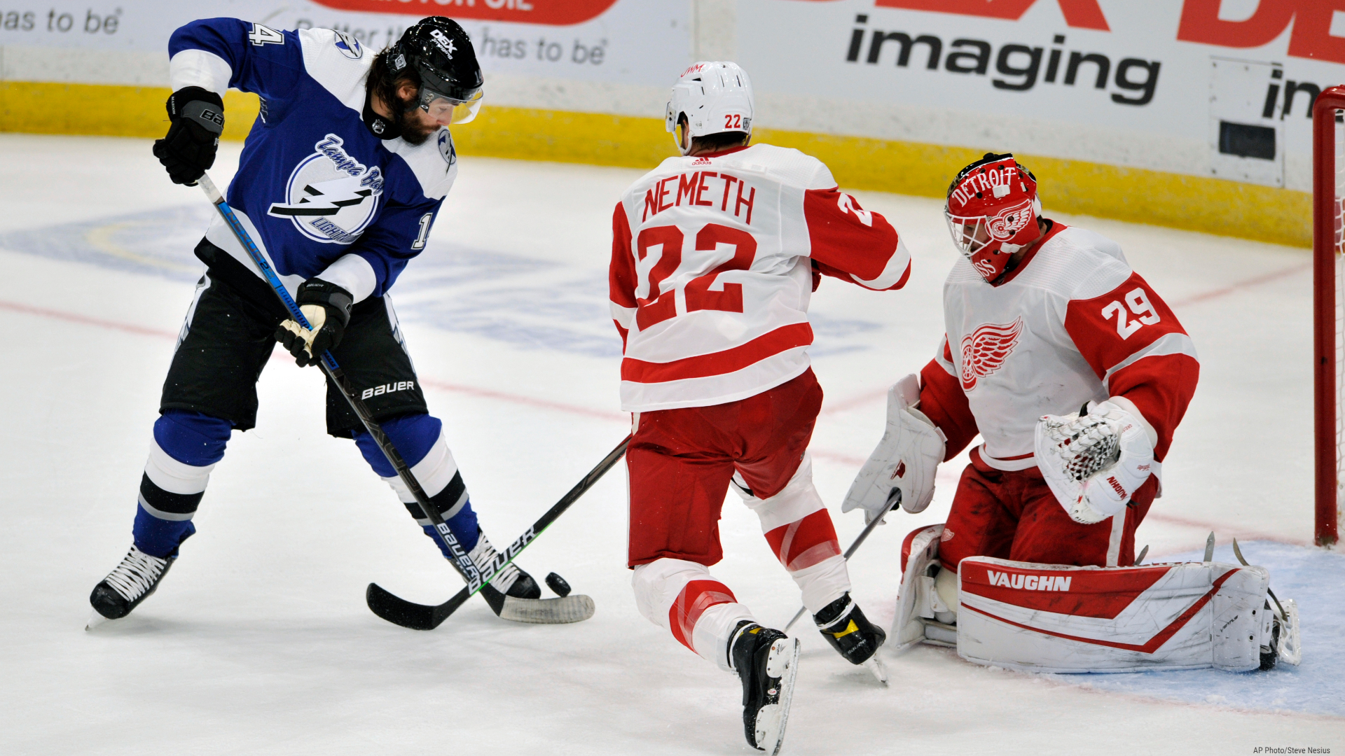 Tampa Bay Lightning's Pat Maroon (14) tries to get a stick on a rebound in front of Detroit Red Wings' Patrik Nemeth (22) and goalie Thomas Greiss (29) during the first period of an NHL hockey game Friday, Feb. 5, 2021, in Tampa, Fla. (AP Photo/Steve Nesius)