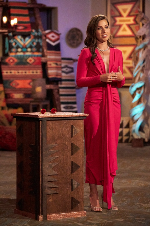 Katie Thurston at the rose ceremony during season 17 episode 7 of the bachelorette.